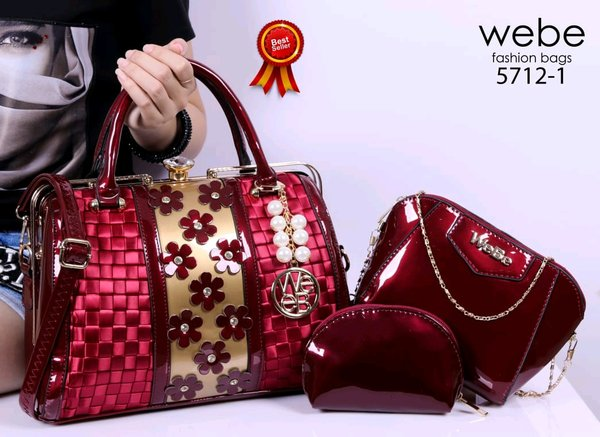 tas wanita webe behel 3 in 1 handbag mewah branded import set pouch clutch tas pesta tas lebaran party bag limited