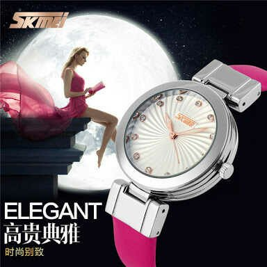 PROMO!! Jam tangan wanita / cewek SKMEI ori original anti air tali kulit model alba qq guess gu-cci