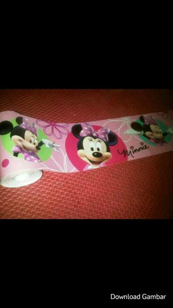 Wallborder Wallpaper Dinding Tembok Roll minnie mickey miki mini mouse tikus12mx10cm