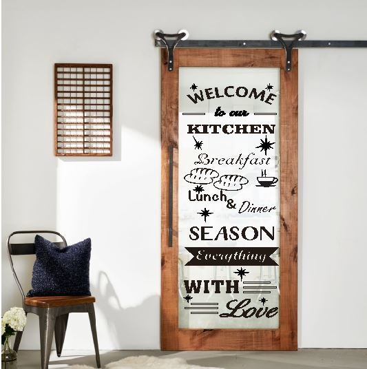 Stiker Kaca Transparant Welcome Kitchen Quotes Dekorasi Dinding Jendela Home Decor Sticker