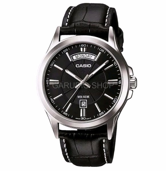PROMO RAMADHAN Casio Original Pria MTP 1381L 1A Analog Leather