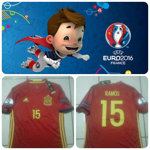 Jersey Spanyol Home Full Patch dan Nameset Euro 2016 Official