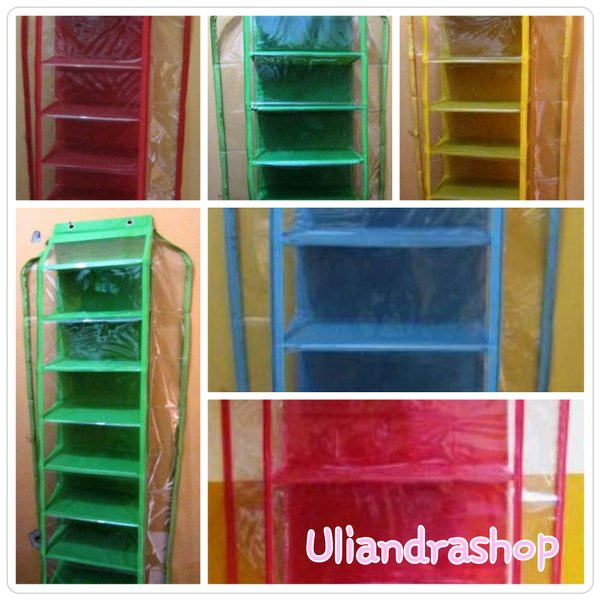 Rak Sepatu Gantung Resleting Hanging Shoes Organizer Zipper Polos Warna (HSOZ)