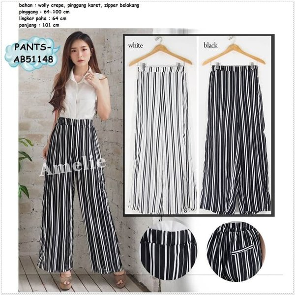 HEMAT Celana Panjang Kulot Garis Wanita Korea Import AB51148 Hitam Putih DISKON