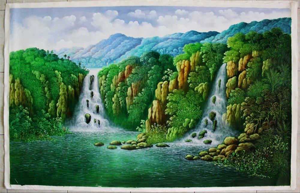 Jual Lukisan Pemandangan Hutan dan Air Terjun  X99  di