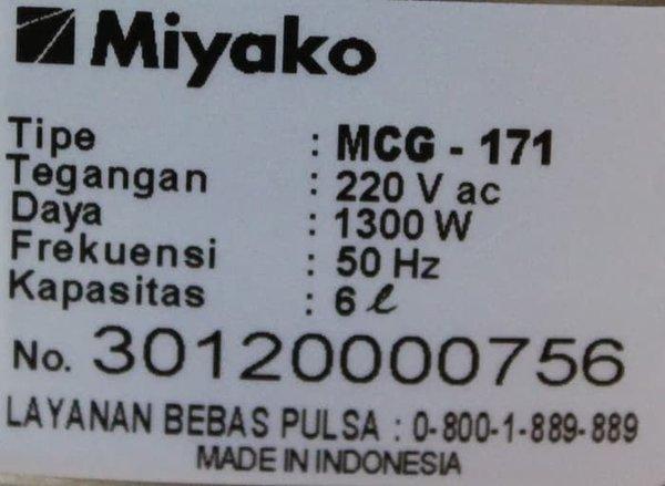 Magic Com Rice Cooker Jumbo Miyako MCG-171