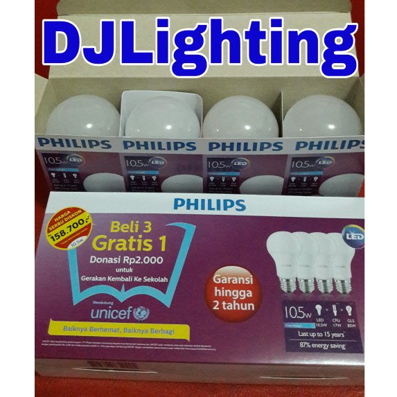 Paket lampu philips LED 10.5 watt putih isi 4