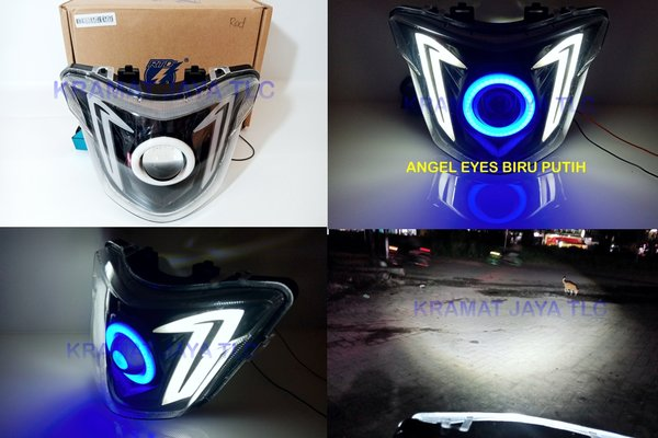 REFLEKTOR BATOK LAMPU UTAMA MX KING PROJIE LED ANGEL EYES BIRU PUTIH HIGH LOW