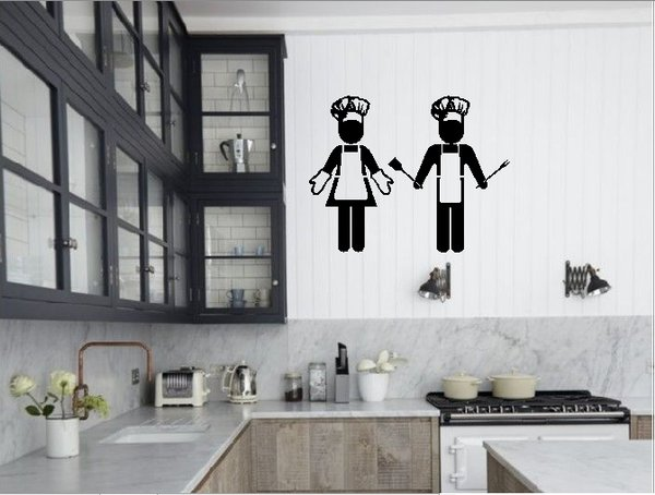 Wall Sticker Cewek Cowok Koki Hiasan Stiker Dinding Home Decor Dapur Kitchen Set Kaca Shabby Chic