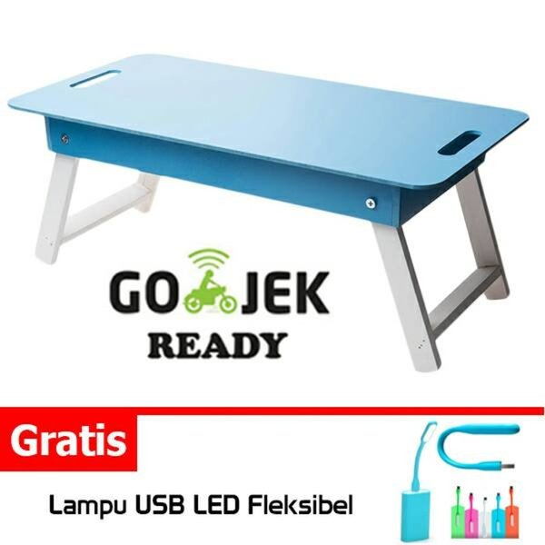 Desk Table Meja Belajar Lipat Anak Baca Lesehan Laptop Portable Serbaguna Polos Warna Murah