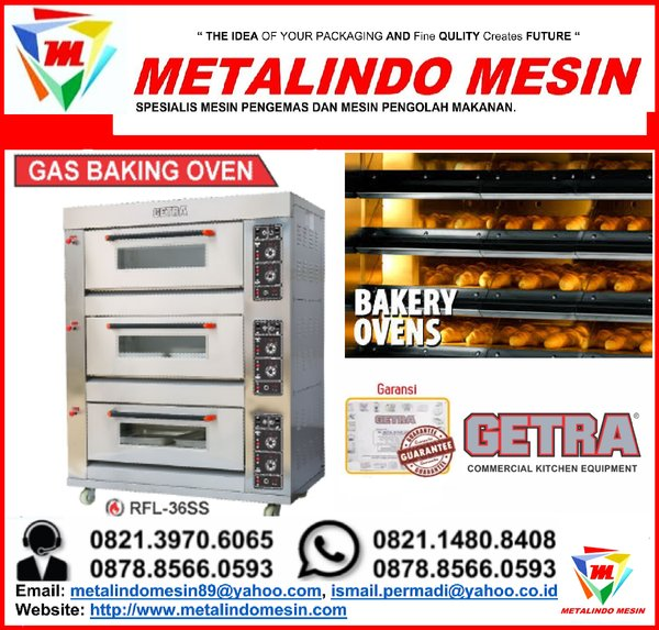 Jual mesin gas oven roti 3 deck 6 tray RFL-36ss Getra