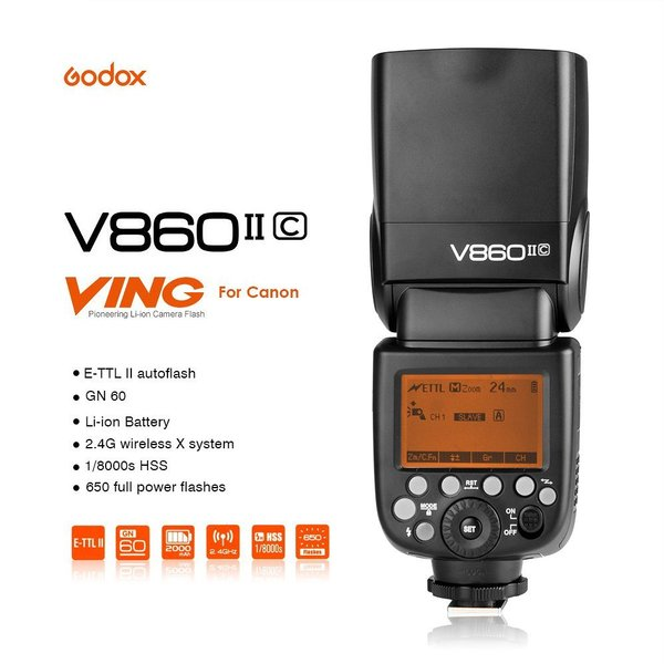 Godox Ving V860II-C V 860 Versi 2 TTL Flash Speedlite For Canon (Flash Reflector Trigger Diffuser Light Stand Remote Speedlite Transmitter Receiver Softbox Strobe Lampu Studio Fotografi Kamera)