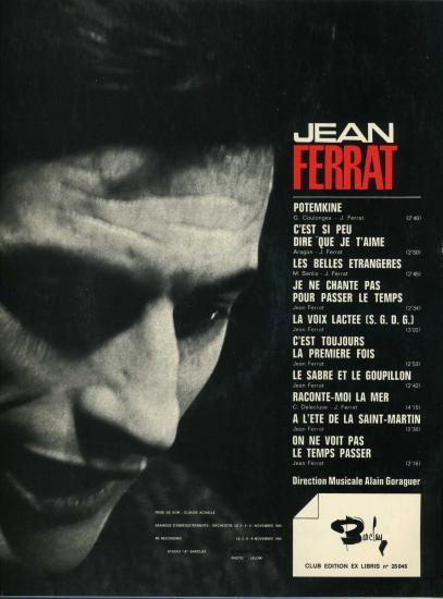 Jean Ferrat C'est Si Peu Dire Que Je T'aime : ferrat, c'est, t'aime, TOURS, BARCLAY