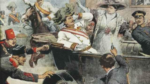 Ilustración en el semanario 'La Domenica' sobre el asesinato del archiduque Francisco Fernando de Austria.