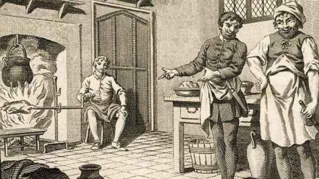 Lambert retratado en un grabado como ayudante de cocina