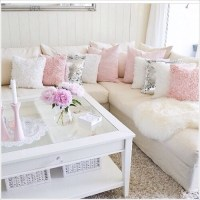 coffee table, couch, creme, flowers, fur - image #3908126 ...