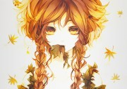 anime autum braids girl leaves