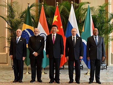(from left)  Michel Temer, Narendra Modi, Xi Jinping, Vladimir Putin and Jacob Zuma ahead of the 8th Brics Summit. Twitter @BRICS2016