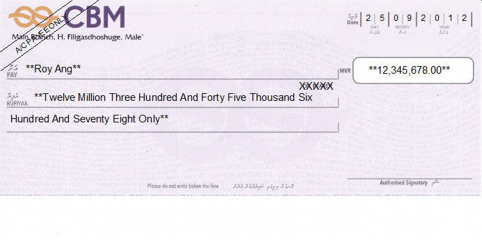 Cheque Writing/ Printing Software for Maldives Banks