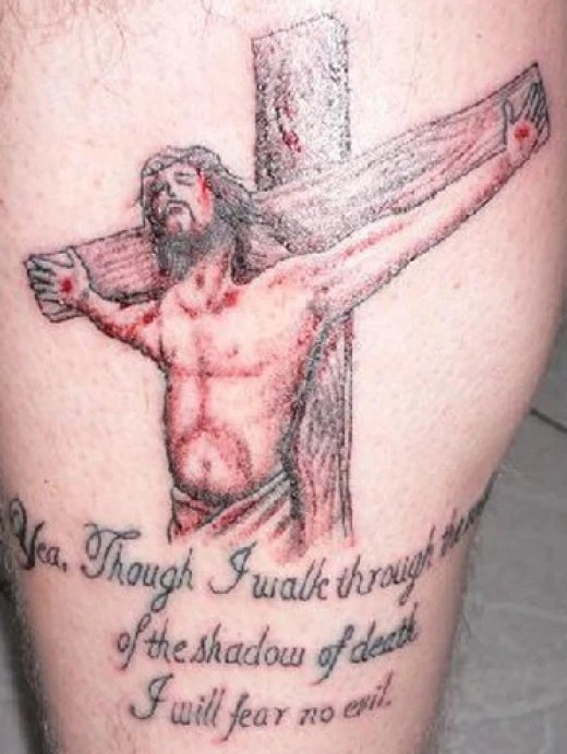 "Another stunning religious tattoo with the words ""Yea, though I walk through"