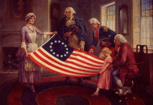 The American Flag being presented to the Founding Fathers.