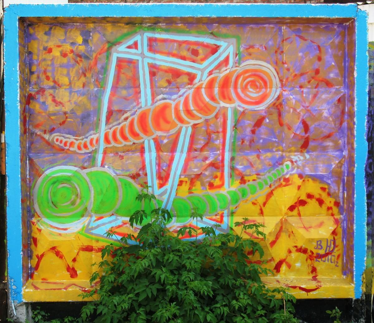 Mongolian death worm Olghoi on graffiti. Kharkov, 2009