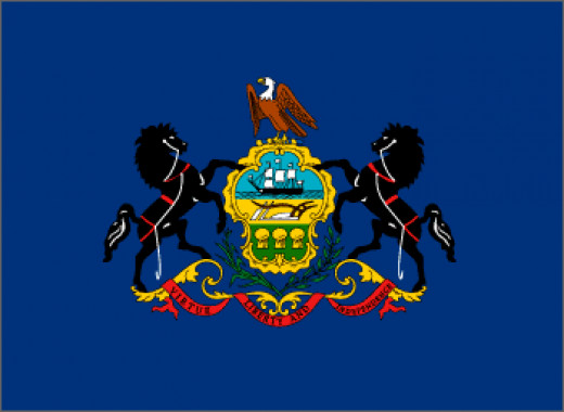 "Pennsylvania State Flag The first state flag bearing the state coat of arms was authorized by the general assembly in 1799. An act of the general assembly of June 13, 1907, standardized the flag and required that the blue field match the blue of ""Old"