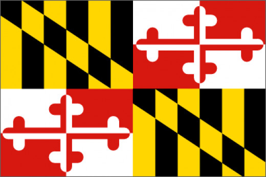 Maryland was founded as an English colony in 1634 by Cecil Calvert, the second Lord Baltimore. The black and Gold designs belong to the Calvert family. The red and white design belongs to the Crossland family.