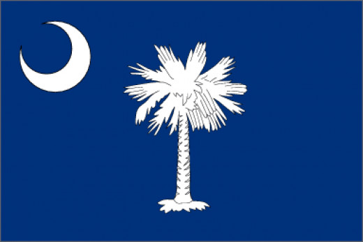 fall of 1775 to design a flag for the use of South Carolina troops, Col. William Moultrie chose a blue which matched the color of their uniforms and a crescent which reproduced the silver emblem worn on the front of their caps. The palmetto tree was