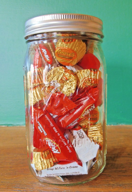 A wide-mouth Mason jar filled with chocolate treats is a perfect last-minute Christmas gift for anyone.