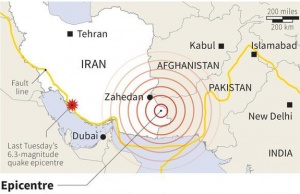 Map of Iran locating a 7.8-magnitude earthquake which struck near the border with Pakistan on Tuesday. REUTERS GRAPHIC