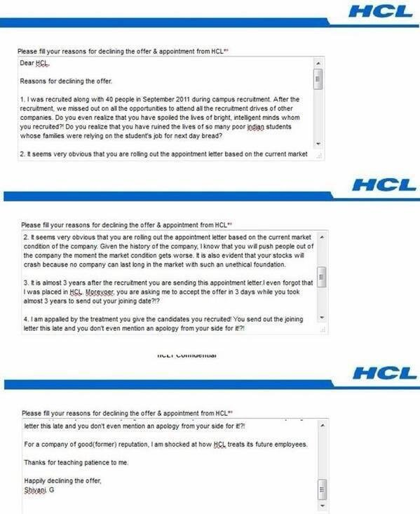 HCL Sent Her A Recruitment Letter After 3 Years Her