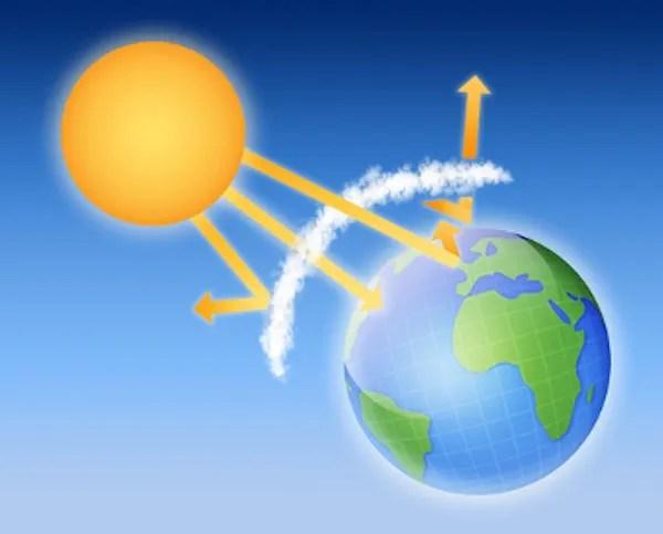 A camada de ozônio atua protegendo a Terra dos raios ultravioleta.