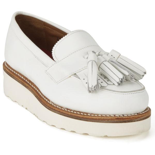Grenson Womens Clara Leather Platform Tassel Loafers