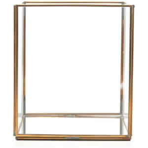 Nkuku Bimala Lantern 21 x 18.5cm - Antique Brass