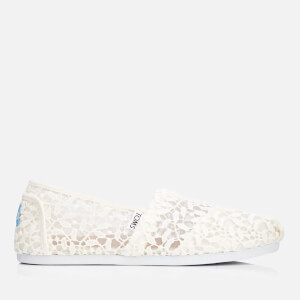 TOMS Women's Alpargata Canvas Slip-On Pumps - White Lace Leaves