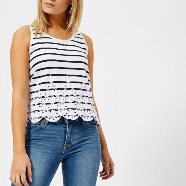 Superdry Women's Pacific Broderie Stripe Tank Top