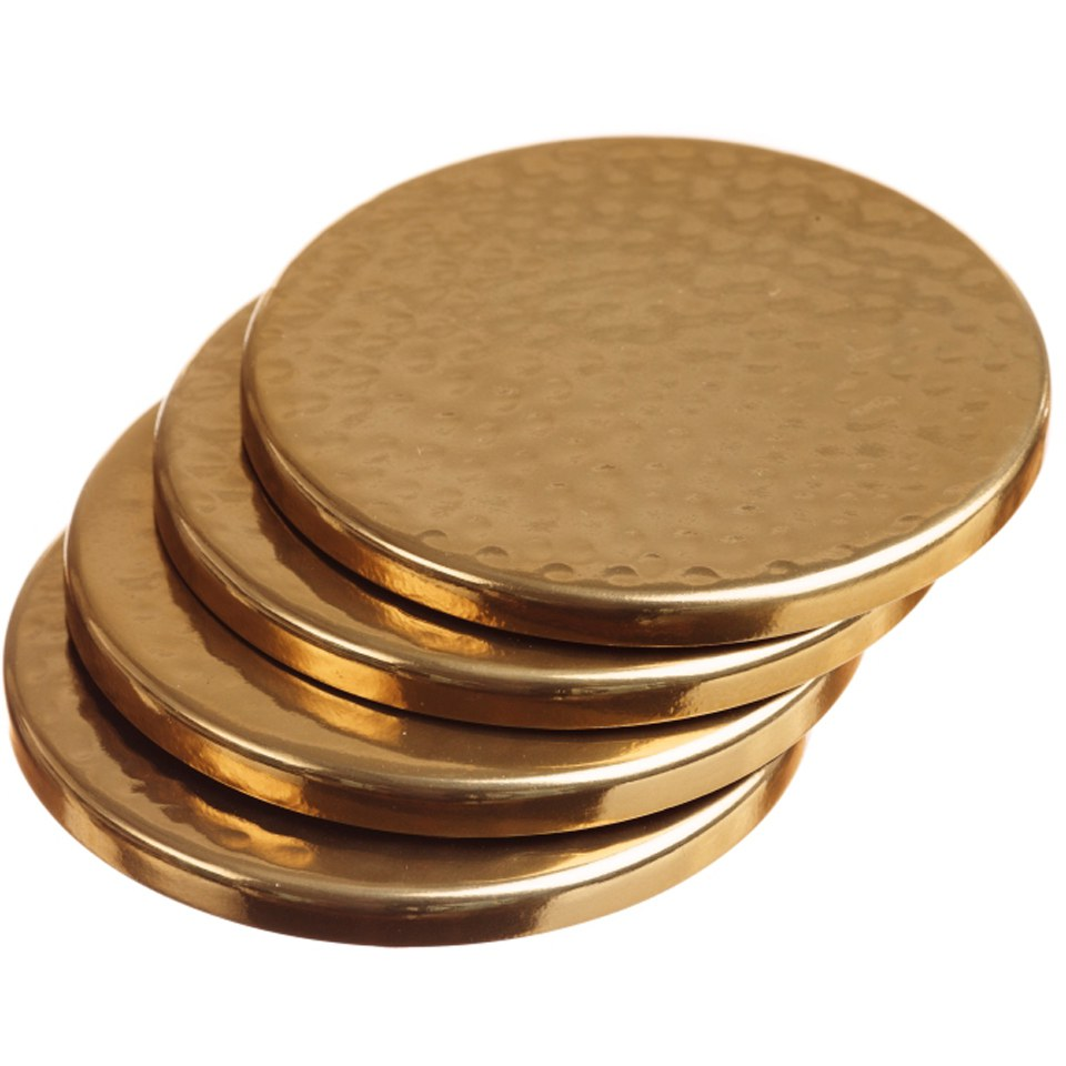 Just Slate Gold Coasters  Set of 4  Free UK Delivery