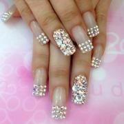 wedding nail design - bling nails