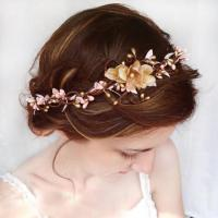 Wedding Hair Accessories, Pink Flower Hair Circlet, Gold