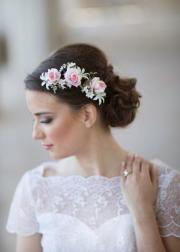 pink wedding - flower bridal hair
