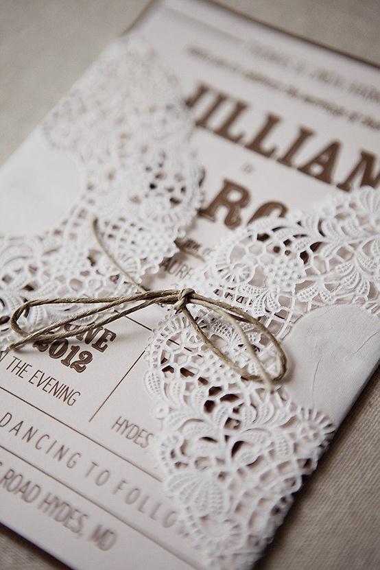 Rustic Wedding Handmade Diy Lace Invitation
