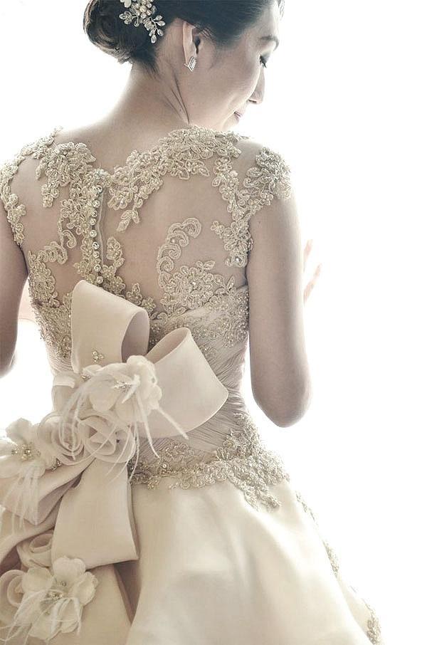 Dress  Ivory Wedding Dress With Ribbon At Back 2038907