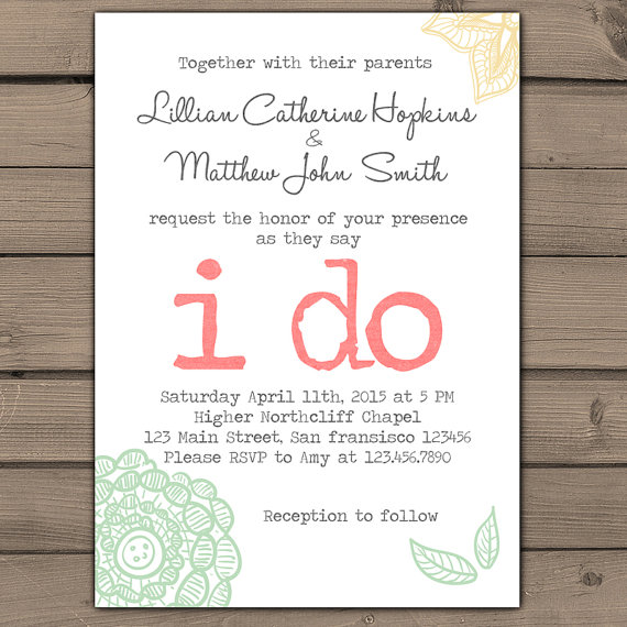 Wedding Invitation I Do Lace Invites Typewriter Rustic Shabby Chic Cly Flower Fl C Teal Peach Digital Printable New