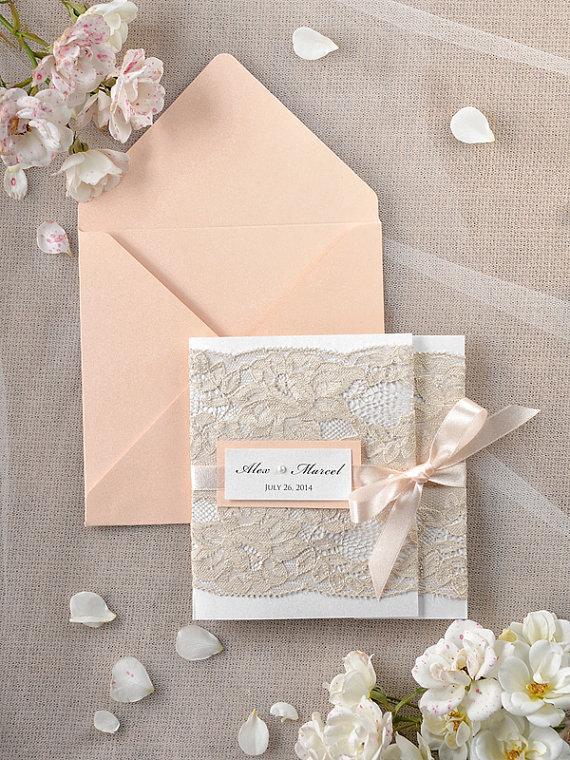 Peach Wedding Invitations Lace C Invitation