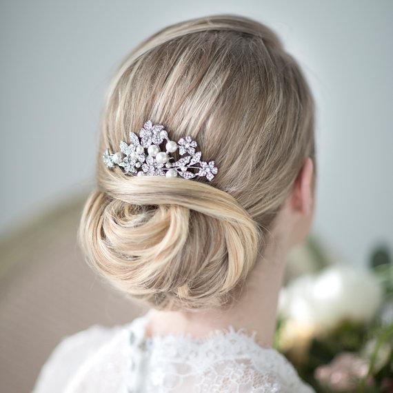 bridal hair comb wedding head piece crystal and pearl haircomb wedding hair accessory new