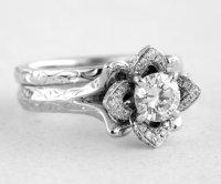 Wedding Set - Engraved Flower Rose Diamond Engagement Ring ...
