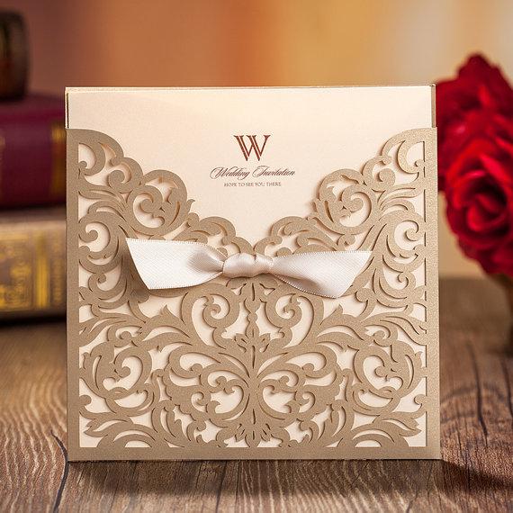 Clic Golden Hollow Wedding Invitations Cards