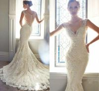 Vintage Ivory Lace Bridal Gowns Long Mermaid Wedding ...