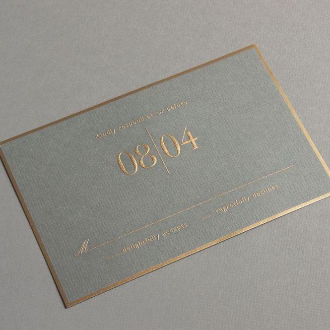 Vera Engraved Gold Bordered Light Grey Invitation With